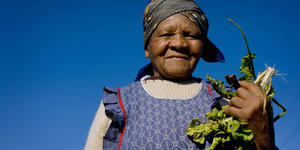 A woman holds up some of the vegetables she has grown in a garden in Cape Town, South Africa